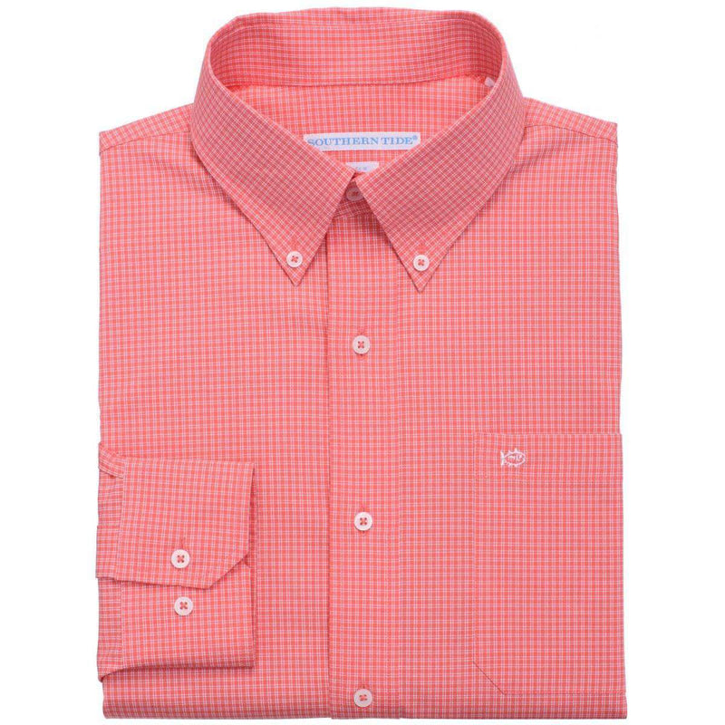 Men's Button Downs - Fortune Hills Plaid Classic Fit Sport Shirt In Coral Beach By Southern Tide