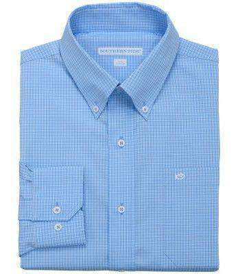 Men's Button Downs - Fortune Hills Plaid Classic Fit Sport Shirt In Ocean Channel By Southern Tide
