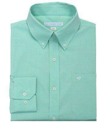 Men's Button Downs - Fortune Hills Plaid Tailored Sport Shirt In Bermuda Teal By Southern Tide - FINAL SALE