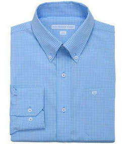 Men's Button Downs - Fortune Hills Plaid Tailored Sport Shirt In Ocean Channel By Southern Tide