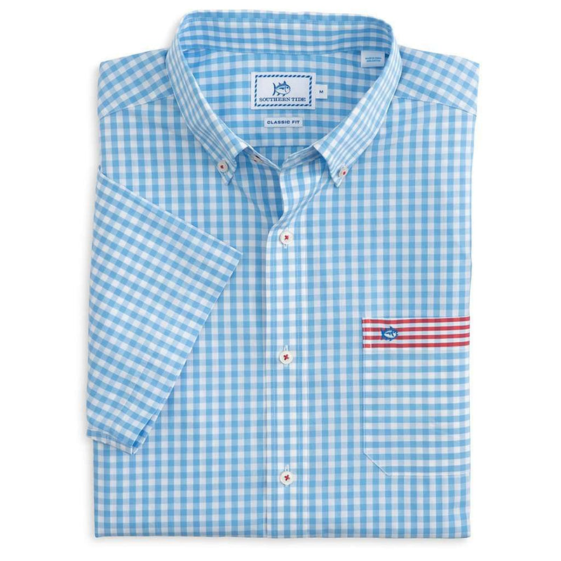 Freedom Gingham Short Sleeve Sport Shirt by Southern Tide