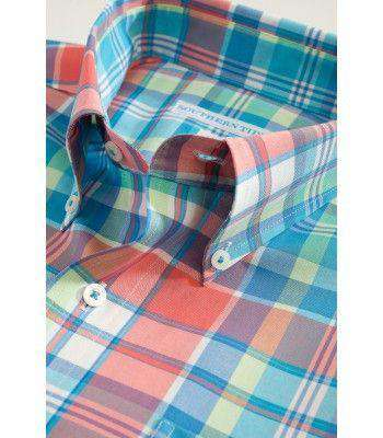 Men's Button Downs - Full Throttle Classic Fit Sport Shirt In Coral Beach Plaid By Southern Tide