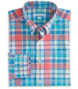 Men's Button Downs - Full Throttle Tailored Sport Shirt In Coral Beach Plaid By Southern Tide