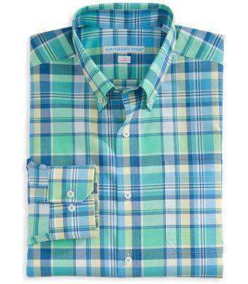 Men's Button Downs - Full Throttle Tailored Sport Shirt In Starboard Plaid By Southern Tide - FINAL SALE