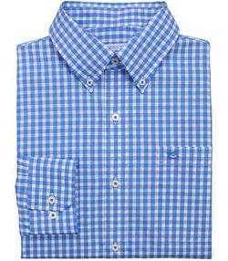 Men's Button Downs - Gingham Classic Fit Sport Shirt In Charting Blue By Southern Tide