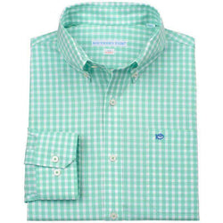 Men's Button Downs - Gingham Tailored Sport Shirt In Bermuda Teal By Southern Tide