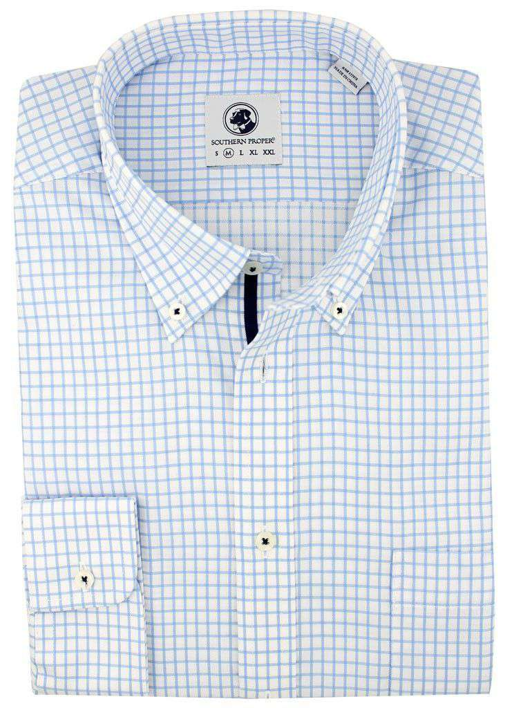 Men's Button Downs - Goal Line Shirt In Blue Tattersall By Southern Proper