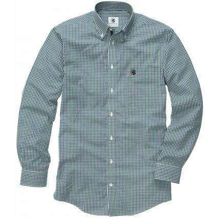 Men's Button Downs - Goal Line Shirt In Navy/Green Small Check By Southern Proper