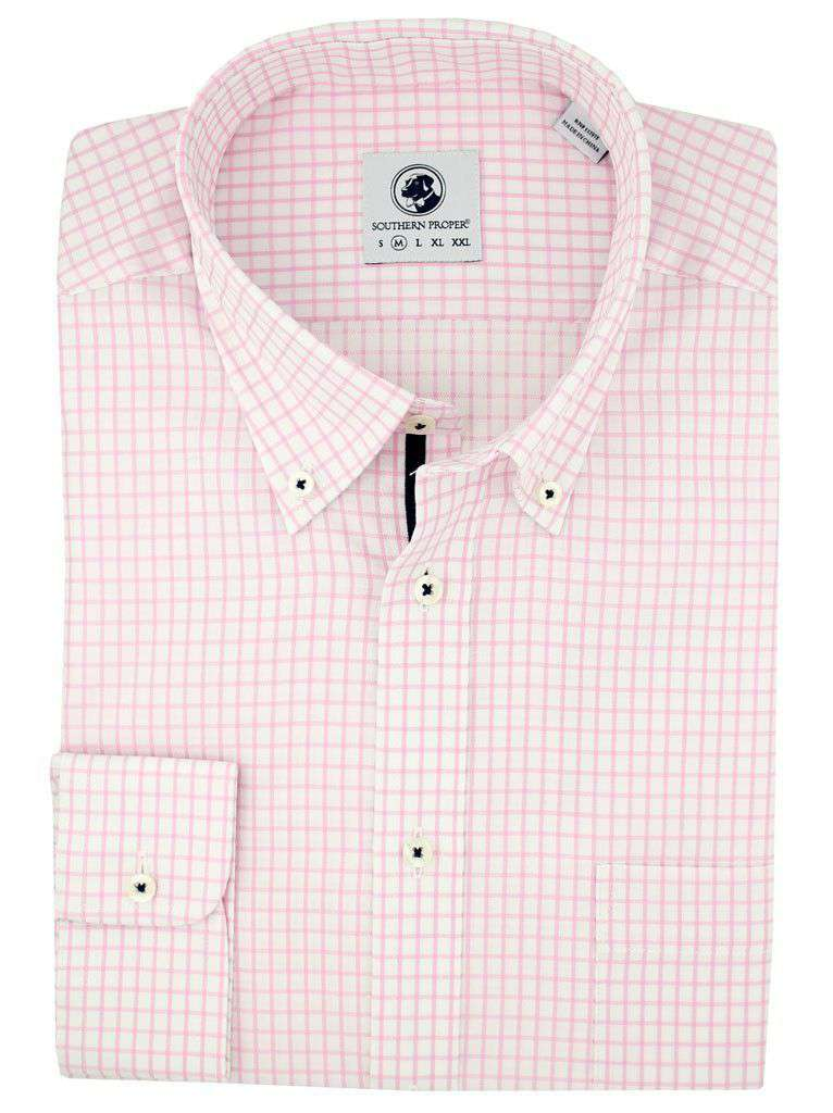 Men's Button Downs - Goal Line Shirt In Pink Tattersall By Southern Proper