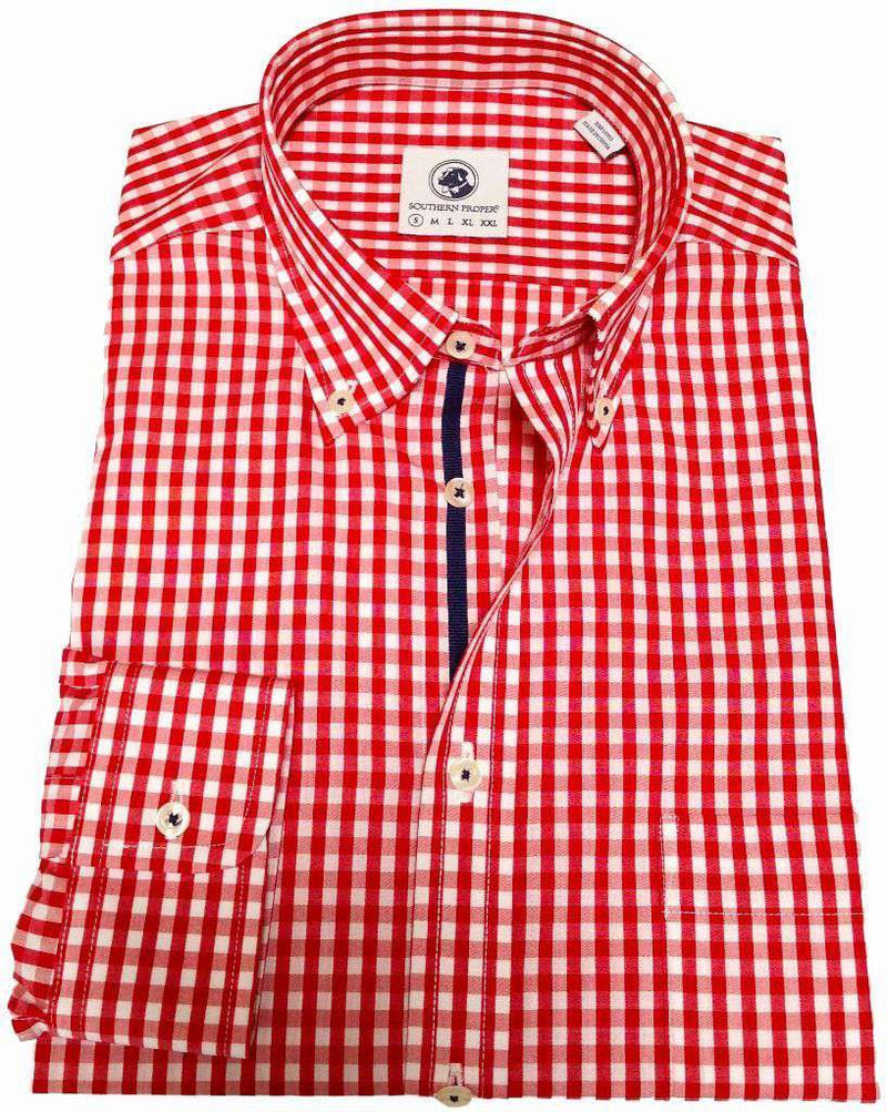 Men's Button Downs - Goal Line Shirt In Red Gingham By Southern Proper