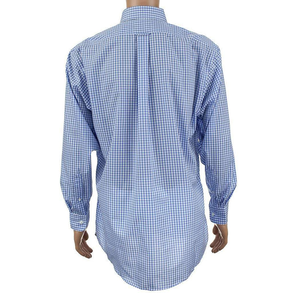 Men's Button Downs - Golfcart Embroidered Button Down In Blue Gingham By Country Club Prep