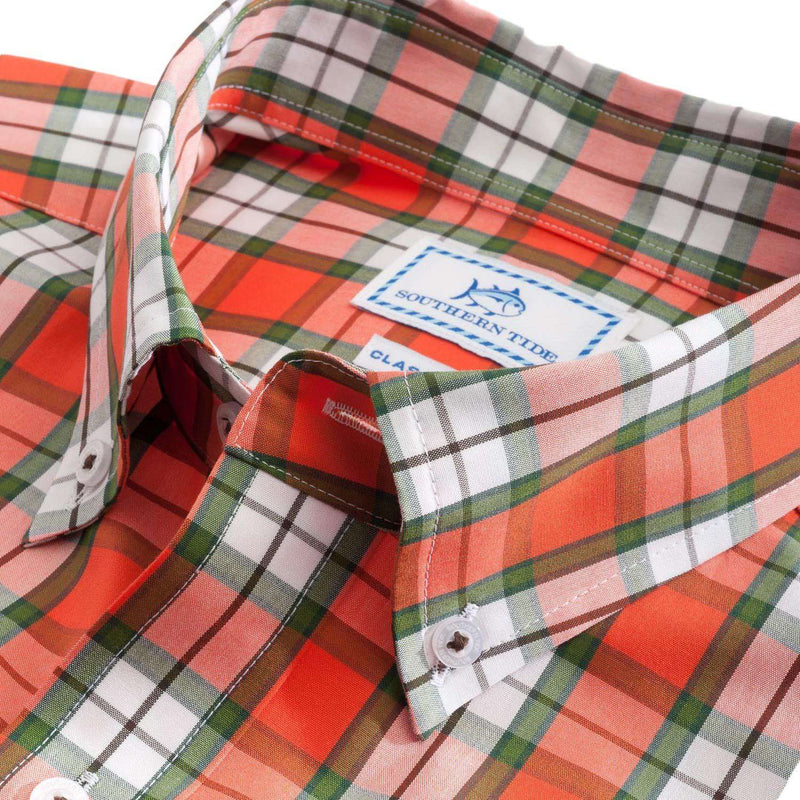 Grandview Plaid Sport Shirt in Orange Sky by Southern Tide