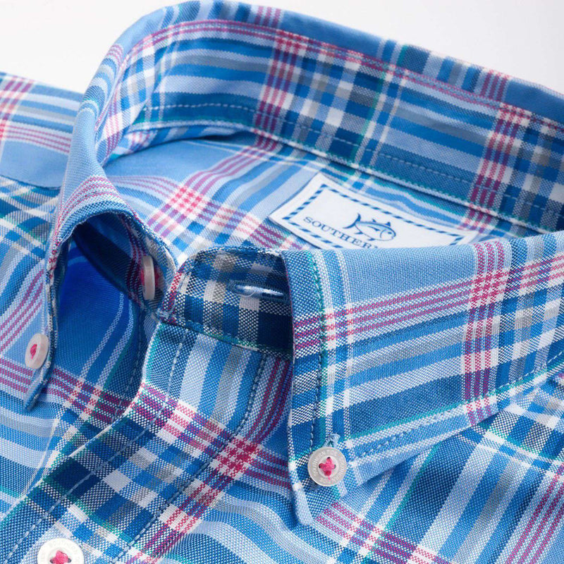Men's Button Downs - Harbor Plaid Sport Shirt In Cool Water By Southern Tide