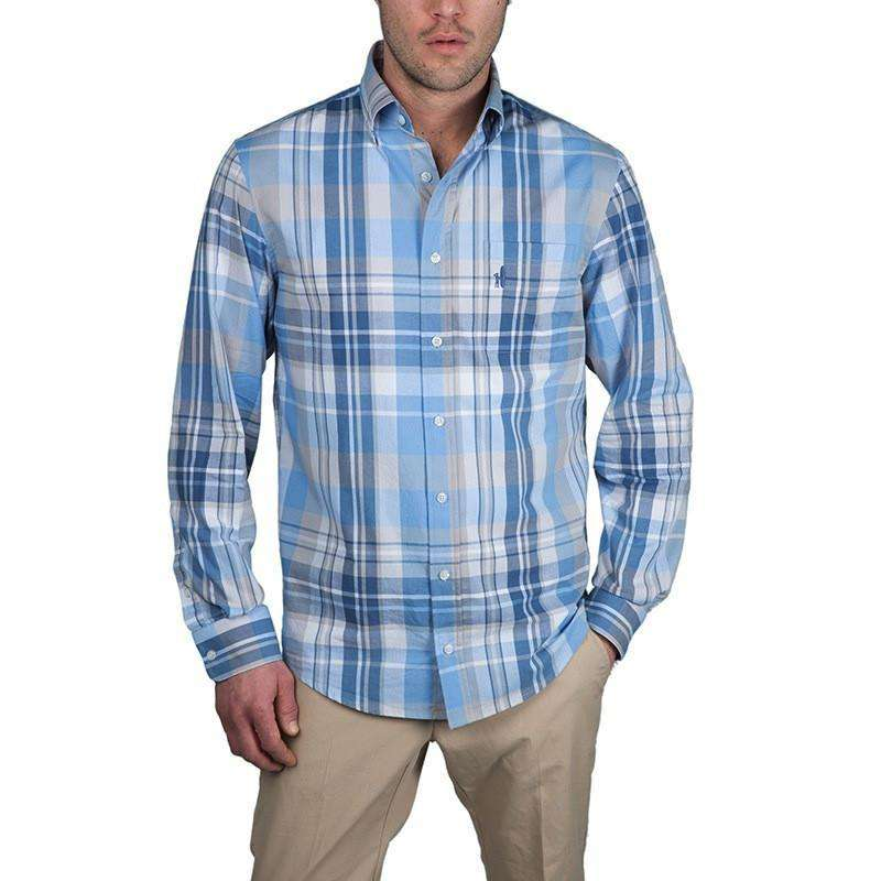Men's Button Downs - Light Weight Plaid Button-Down In Blue Bird By Johnnie-O - FINAL SALE