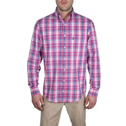 Men's Button Downs - Light Weight Plaid Button-Downs In Poppin' Pink By Johnnie-O