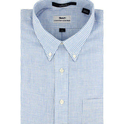 Men's Button Downs - Linen Button Down In Light Blue Mini Gingham By Country Club Prep