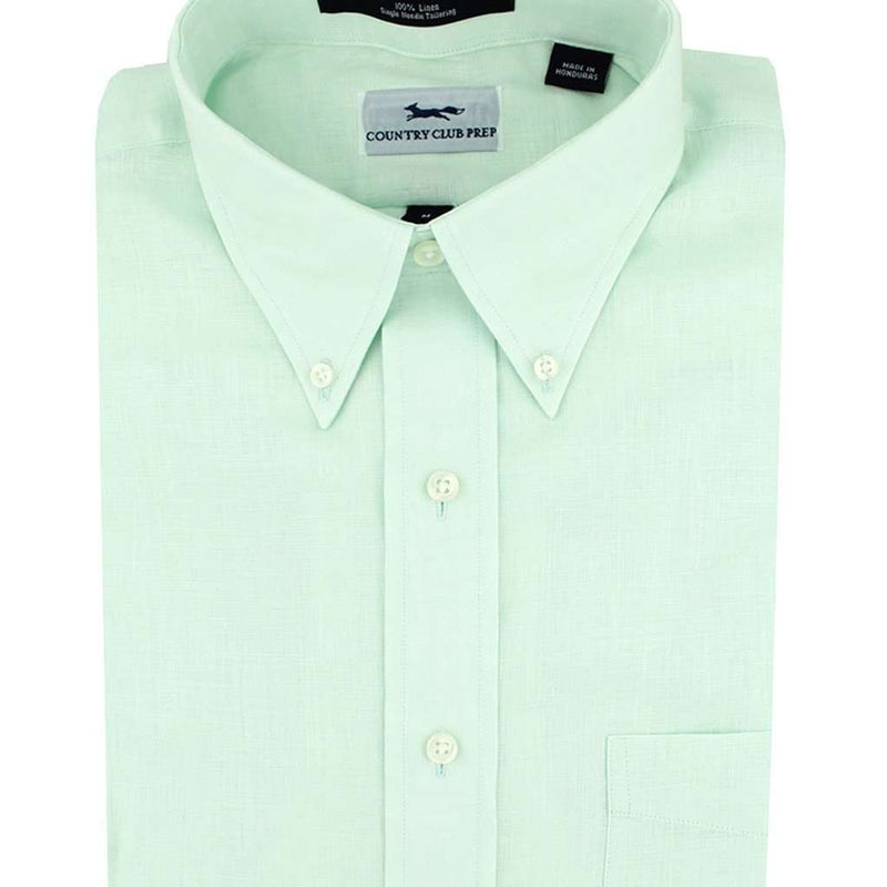 Men's Button Downs - Linen Button Down In Mint By Country Club Prep - FINAL SALE