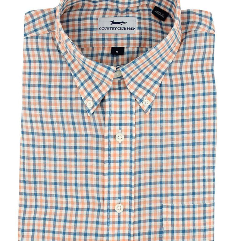Men's Button Downs - Linen Button Down In Orange And Blue Multi Check By Country Club Prep - FINAL SALE