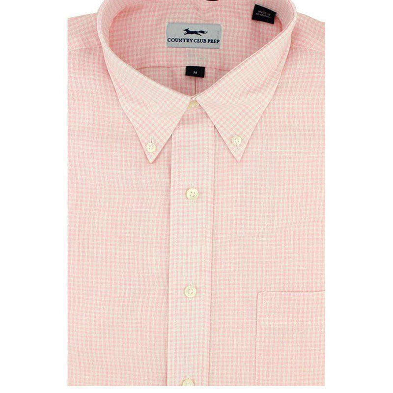 Men's Button Downs - Linen Button Down In Pink Mini Gingham By Country Club Prep