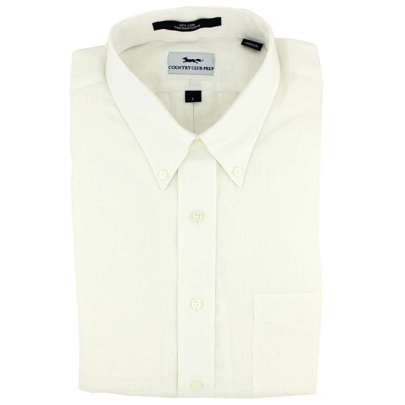 Men's Button Downs - Linen Button Down In White By Country Club Prep - FINAL SALE
