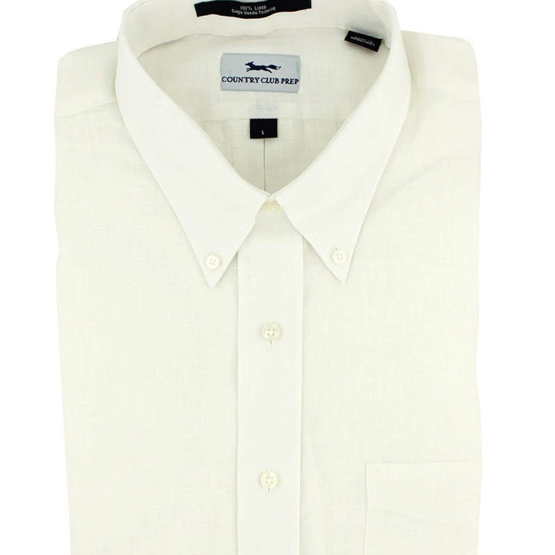 Linen Button Down in White by Country Club Prep - FINAL SALE