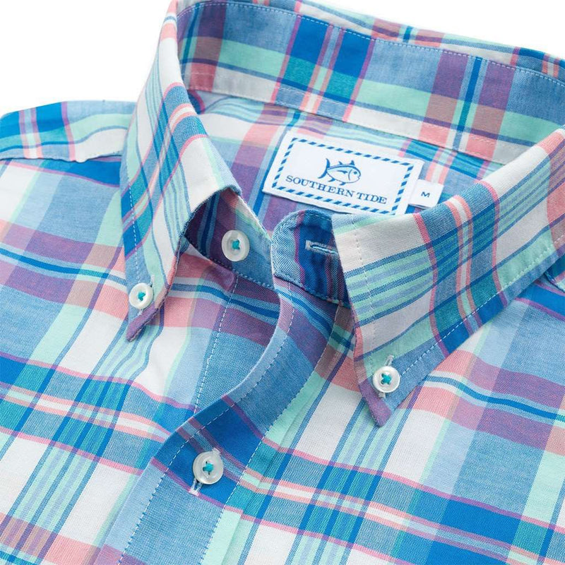Men's Button Downs - Long Bay Plaid Sport Shirt In Legacy Blue By Southern Tide