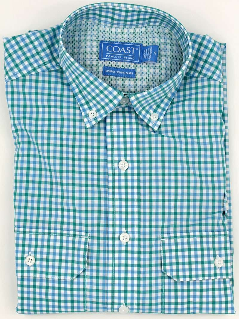 Men's Button Downs - Marina Fishing Shirt In Ballyhoo Blue By Coast - FINAL SALE