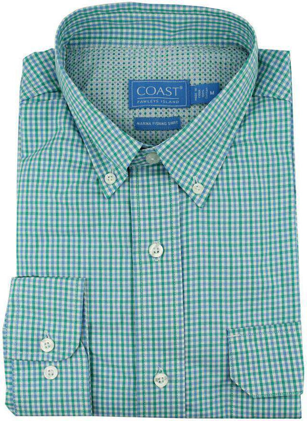 Men's Button Downs - Marina Fishing Shirt In Gulfstream Tattersall By Coast - FINAL SALE