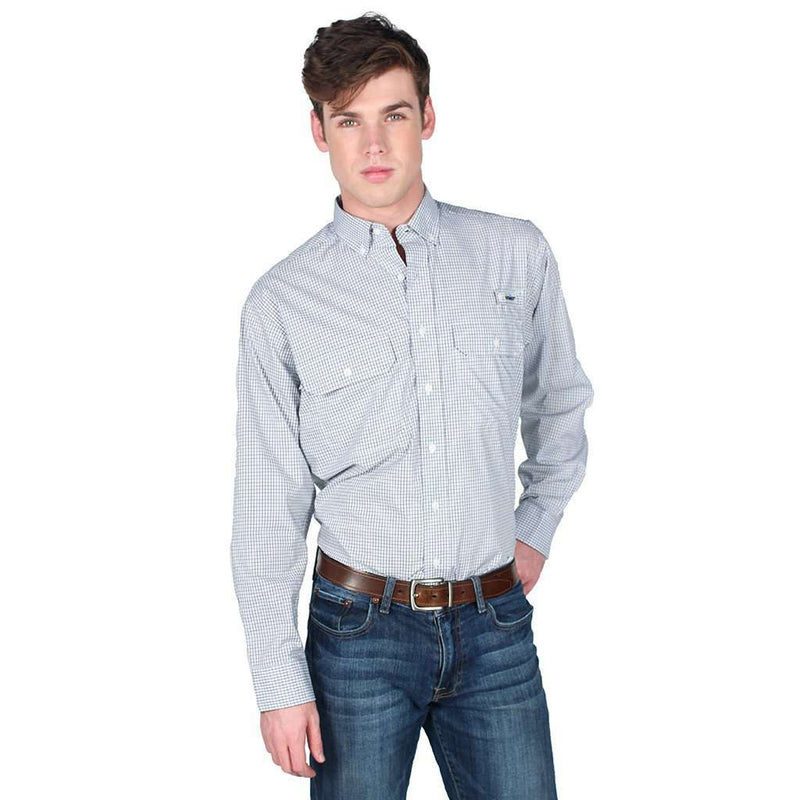 Men's Button Downs - Marina Fishing Shirt In Pacific Navy By Coast