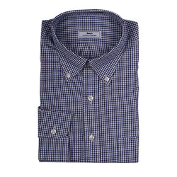 Men's Button Downs - Mini Check Button Down In Blue And White By Country Club Prep