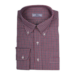 Men's Button Downs - Mini Check Button Down In Red And White By Country Club Prep