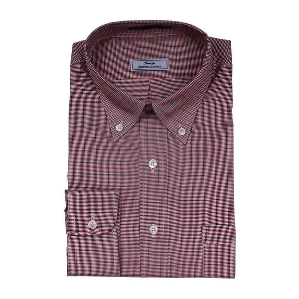 Men's Button Downs - Mini Houndstooth Button Down In Red Black And White By Country Club Prep