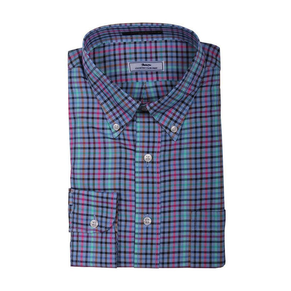 Men's Button Downs - Multi Check Button Down In Blue With Pink And Green By Country Club Prep