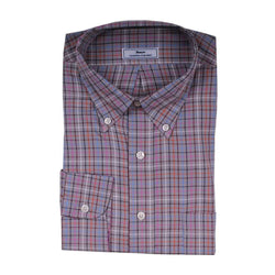 Men's Button Downs - Multi Check Button Down In Grey With Black And Orange By Country Club Prep
