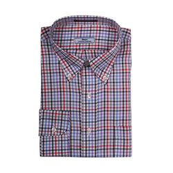 Men's Button Downs - Multi Check Button Down In White With Black And Red By Country Club Prep