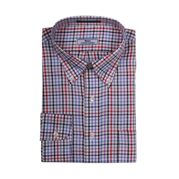 Multi Check Button Down in White with Black and Red by Country Club Prep