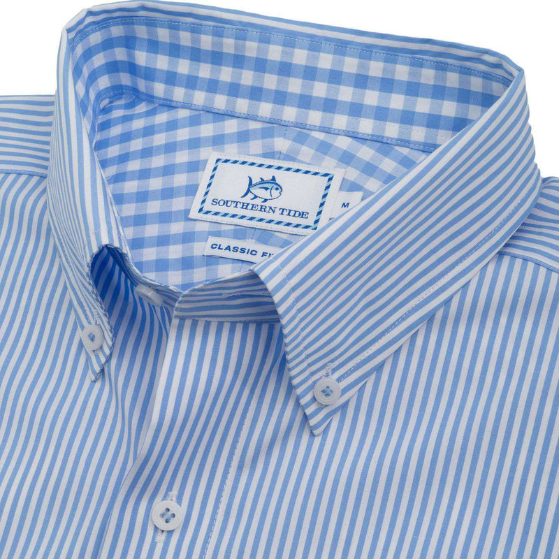 New Street Stripe Sport Shirt in Sail Blue by Southern Tide
