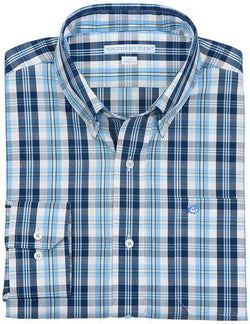 Men's Button Downs - North Lagoon Classic Fit Sport Shirt In Ocean Channel Plaid By Southern Tide