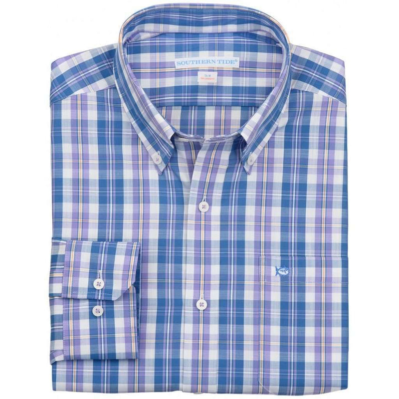 Men's Button Downs - North Lagoon Plaid Tailored Sport Shirt In Orchid By Southern Tide