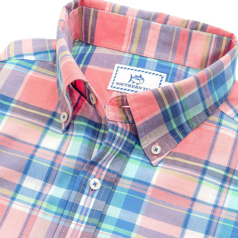 Ocean Boulevard Plaid Sport Shirt in Light Coral by Southern Tide