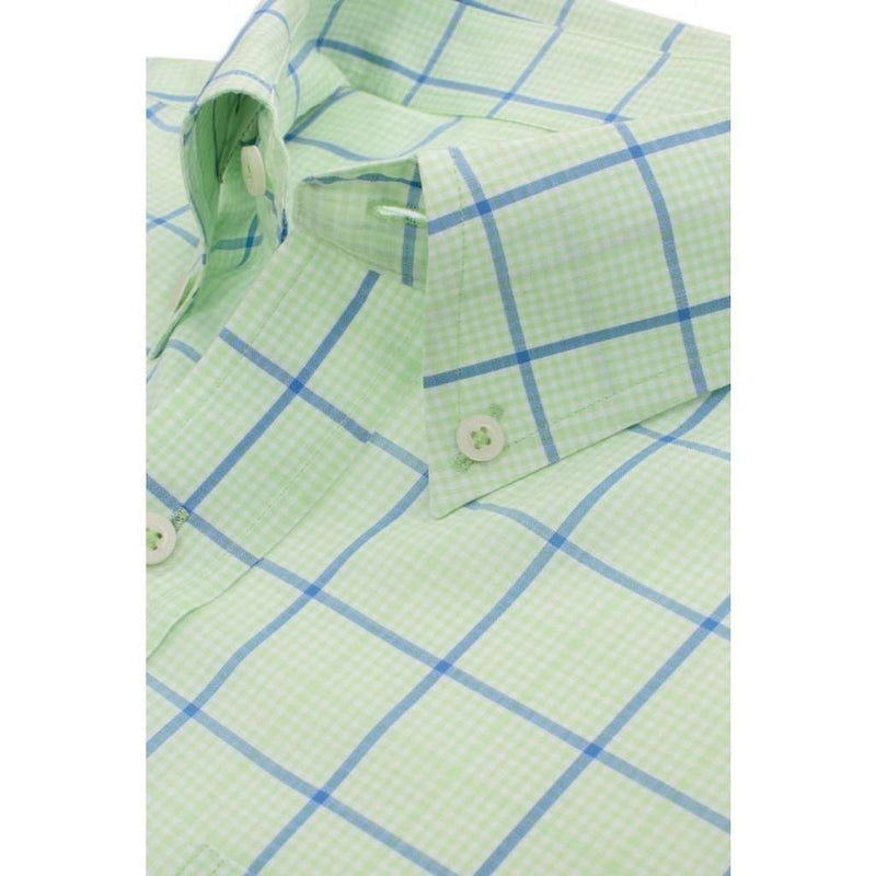 On Course Plaid Classic Fit Sport Shirt in Lime by Southern Tide