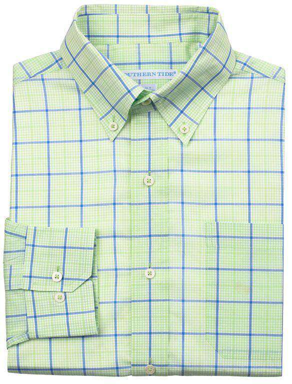 Men's Button Downs - On Course Plaid Tailored Fit Sport Shirt In Lime By Southern Tide