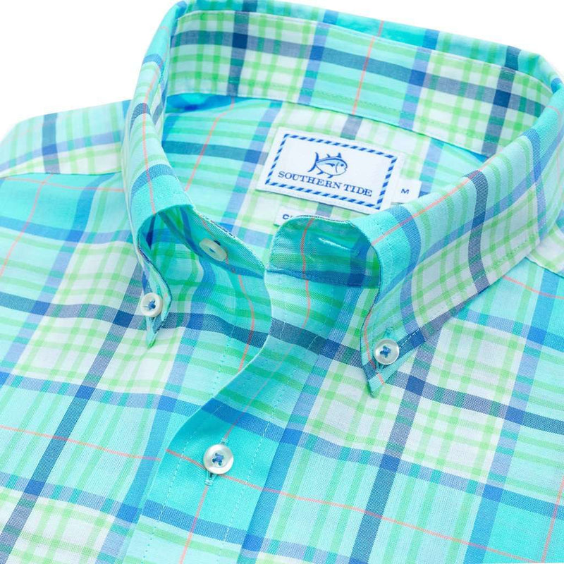 Open Sea Plaid Sport Shirt in Crystal Blue by Southern Tide