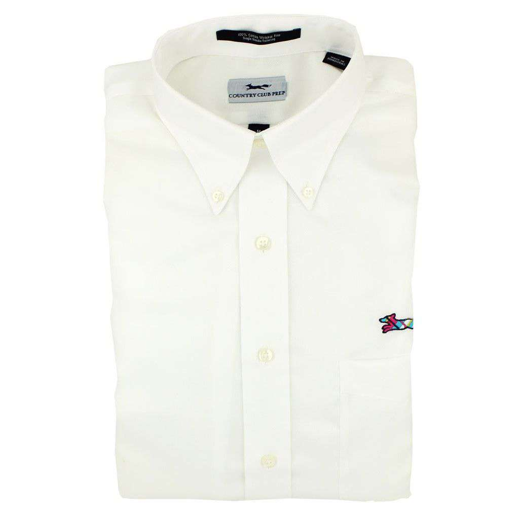 Men's Button Downs - Oxford Button Down In White By Country Club Prep - FINAL SALE