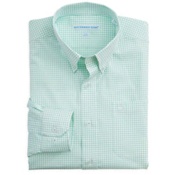 Men's Button Downs - Palm Valley Plaid Classic Fit Sport Shirt In Bermuda Teal By Southern Tide