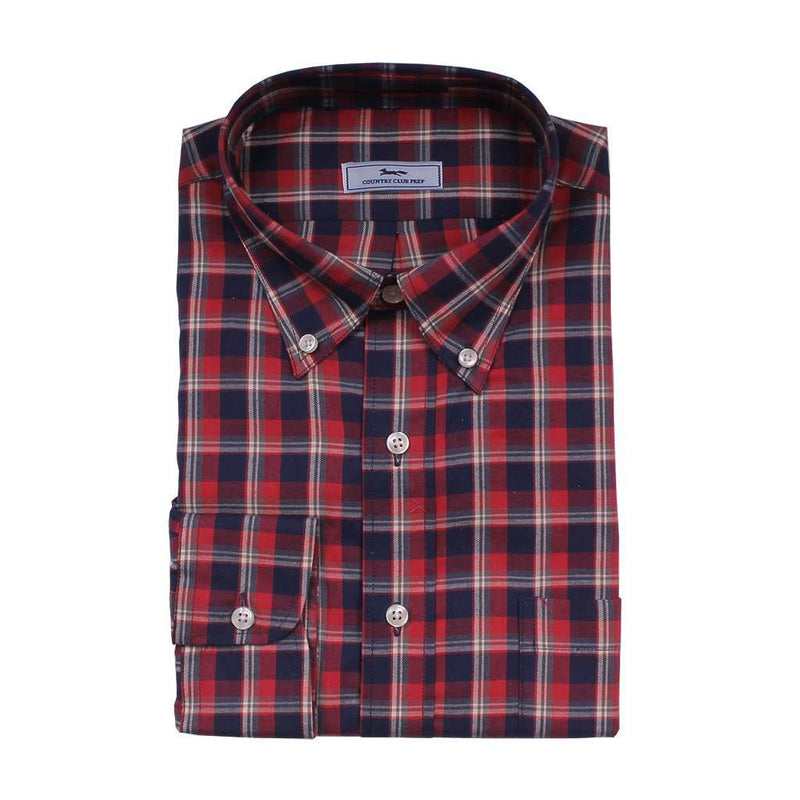 Men's Button Downs - Plaid Button Down In Navy And Red By Country Club Prep