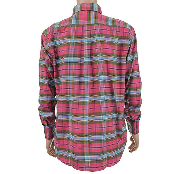 Plantation Flannel Button Down in Raspberry Red by Southern Point Co. - FINAL SALE