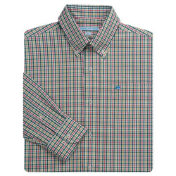 Men's Button Downs - Plantation Plaid Sport Shirt In Grove By Southern Tide