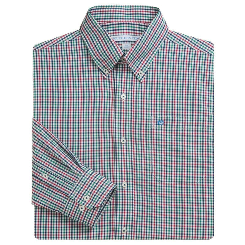 Men's Button Downs - Plantation Plaid Sport Shirt In Thicket By Southern Tide