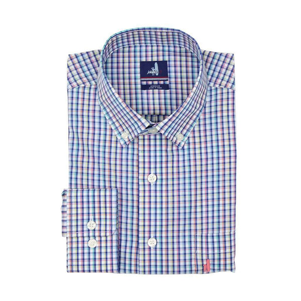 Men's Button Downs - Riviera Prep-Formance Button Down In Maritime By Johnnie-O - FINAL SALE
